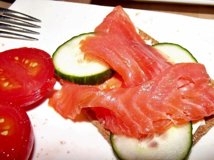 Cold-smoked salmon on a rye crisp.  Also featuring my friend Julia's very excellent pickled tomato.