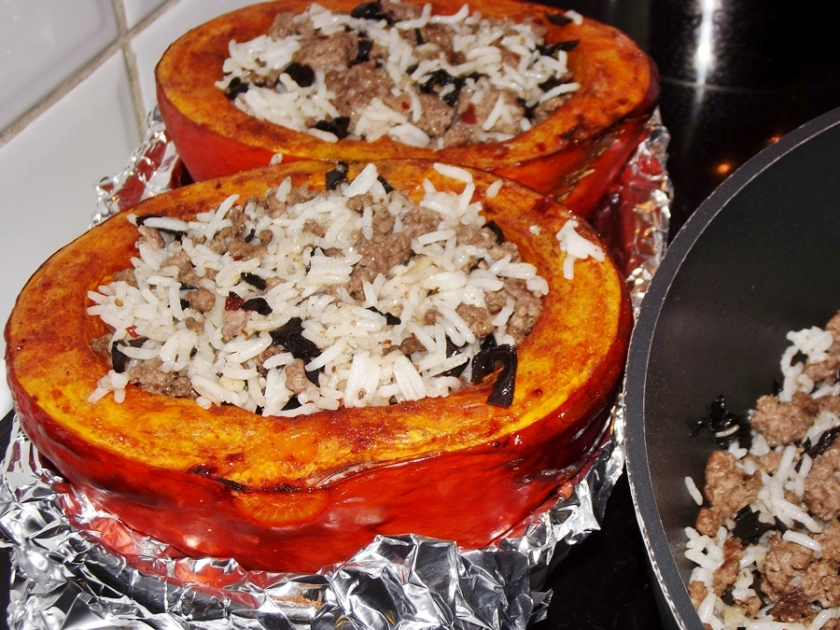 Stuffed Squash with Rice, Beef and Mushrooms