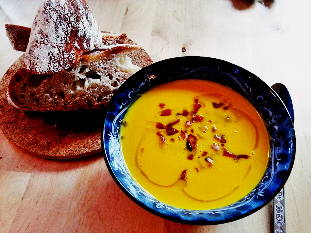 """Cold-Fermented Wheat and Spelt Bread aka """"Bread in Five Minutes a Day"""" and a Really Really Great Squash SoupRecipe"""