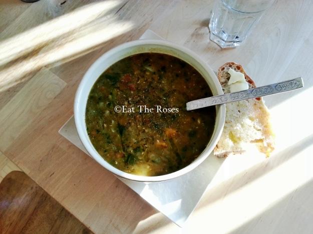 Lentil squash and cabbage soup